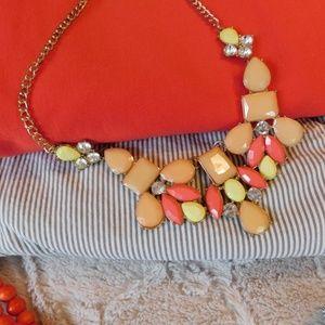 Statement necklace peach salmon yellow gold